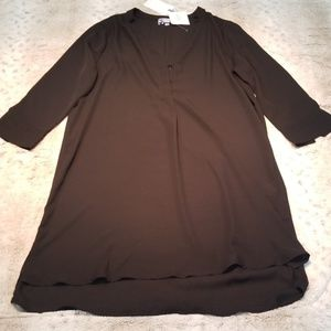 Tea n Rose 3/4 Sleeve Black V Neck Tunic Dress